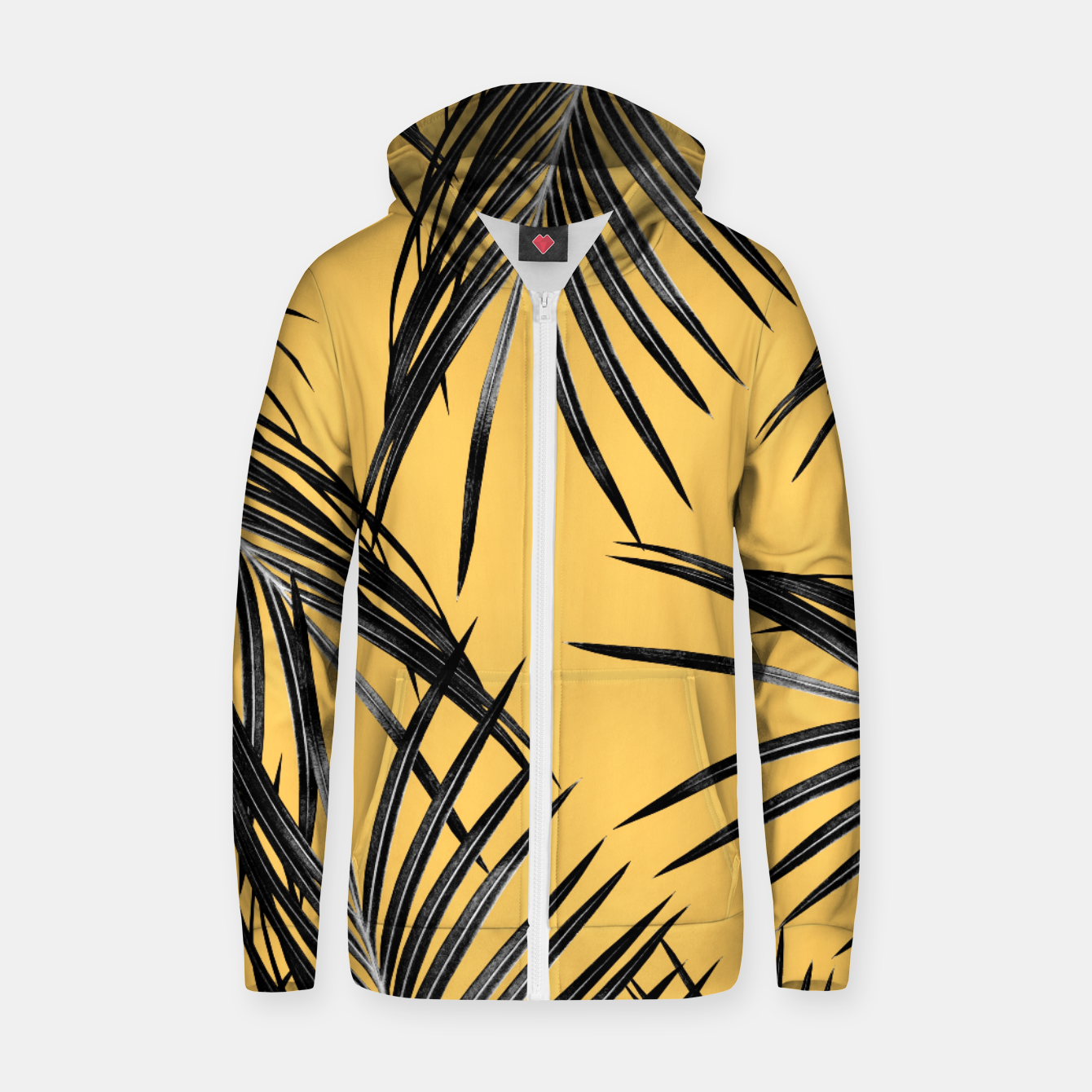 Zdjęcie Black Palm Leaves Dream #6 #tropical #decor #art  Reißverschluss kapuzenpullover - Live Heroes