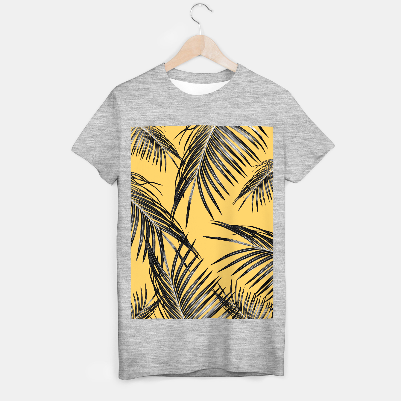 Image of Black Palm Leaves Dream #6 #tropical #decor #art  T-Shirt regulär - Live Heroes