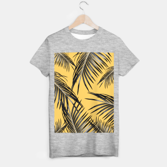 Miniatur Black Palm Leaves Dream #6 #tropical #decor #art  T-Shirt regulär, Live Heroes