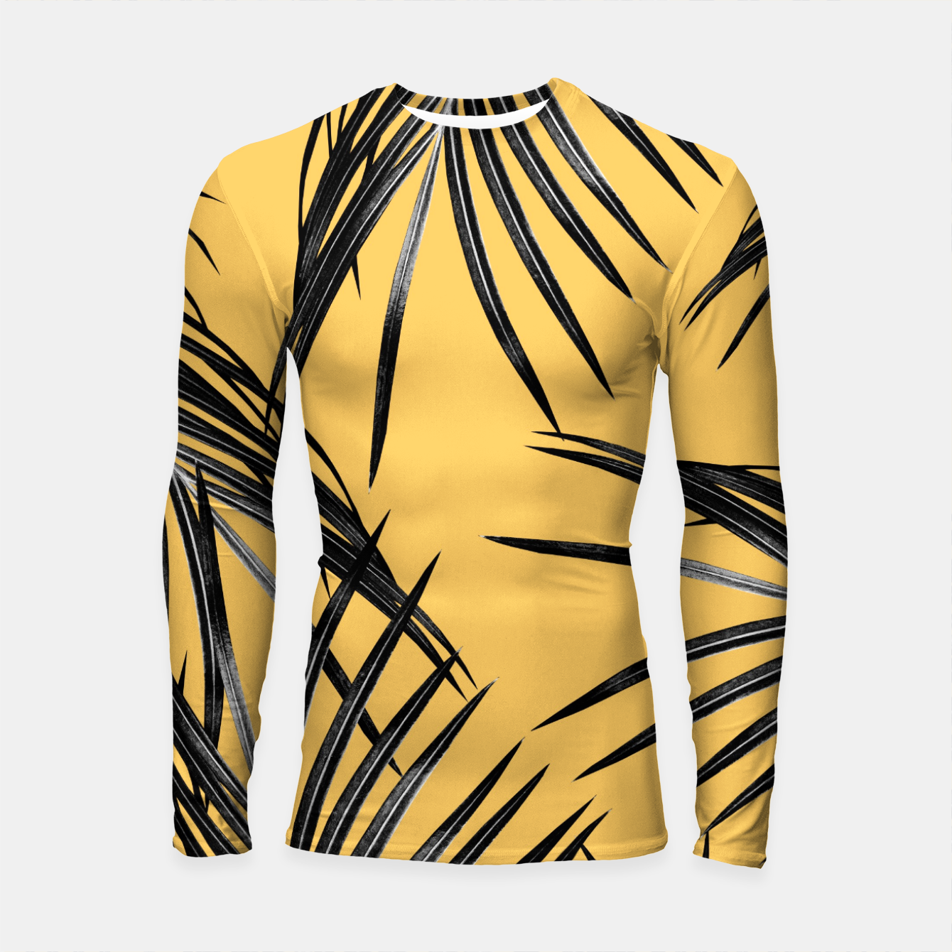 Image of Black Palm Leaves Dream #6 #tropical #decor #art  Longsleeve rashguard - Live Heroes