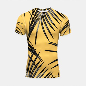 Miniaturka Black Palm Leaves Dream #6 #tropical #decor #art  Shortsleeve rashguard, Live Heroes