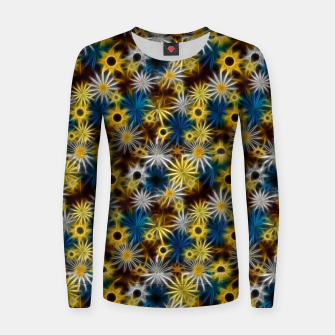 Thumbnail image of Blue and Yellow Glowing Daisies Women sweater, Live Heroes