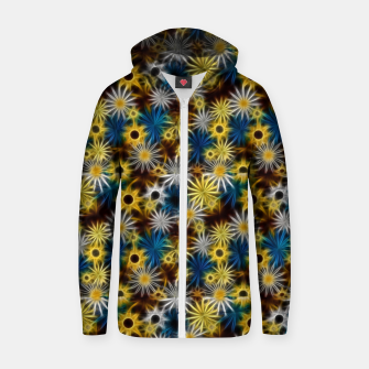 Thumbnail image of Blue and Yellow Glowing Daisies Zip up hoodie, Live Heroes