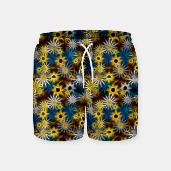 Thumbnail image of Blue and Yellow Glowing Daisies Swim Shorts, Live Heroes