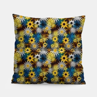 Thumbnail image of Blue and Yellow Glowing Daisies Pillow, Live Heroes