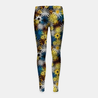 Thumbnail image of Blue and Yellow Glowing Daisies Girl's leggings, Live Heroes