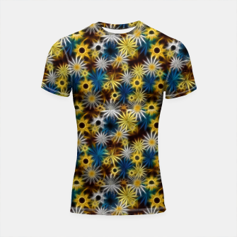 Thumbnail image of Blue and Yellow Glowing Daisies Shortsleeve rashguard, Live Heroes