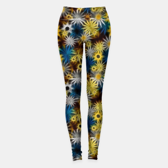 Miniatur Blue and Yellow Glowing Daisies Leggings, Live Heroes
