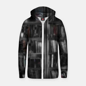 Thumbnail image of Black and White Bookshelves Zip up hoodie, Live Heroes