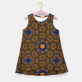 Thumbnail image of Blue and Yellow Sketch Kaleidoscope Girl's summer dress, Live Heroes