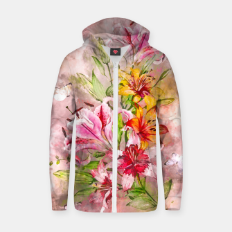 Thumbnail image of Lilies Bunch Zip up hoodie, Live Heroes