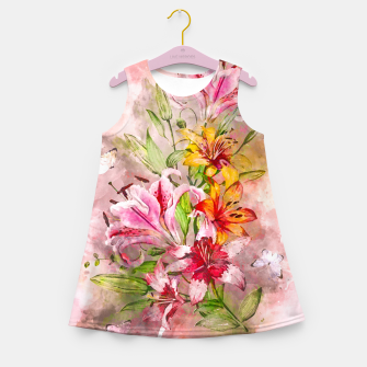 Miniatur Lilies Bunch Girl's summer dress, Live Heroes