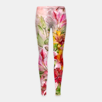 Thumbnail image of Lilies Bunch Girl's leggings, Live Heroes