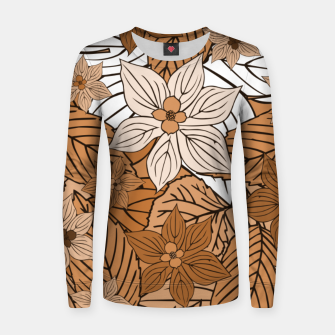 Miniatur Autumn mood with flowers and leaves in brown and beige romantic illustration and a little bit nostalgia Women sweater, Live Heroes