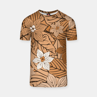 Miniatur Autumn mood with flowers and leaves in brown and beige romantic illustration and a little bit nostalgia T-shirt, Live Heroes