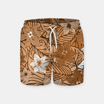 Miniatur Autumn mood with flowers and leaves in brown and beige romantic illustration and a little bit nostalgia Swim Shorts, Live Heroes