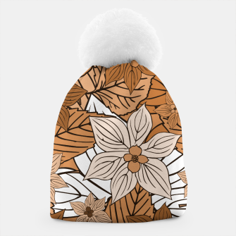 Miniature de image de Autumn mood with flowers and leaves in brown and beige romantic illustration and a little bit nostalgia Beanie, Live Heroes