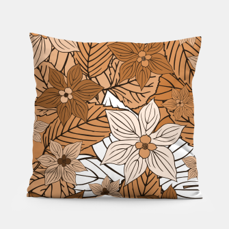 Miniature de image de Autumn mood with flowers and leaves in brown and beige romantic illustration and a little bit nostalgia Pillow, Live Heroes