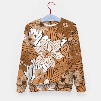 Miniature de image de Autumn mood with flowers and leaves in brown and beige romantic illustration and a little bit nostalgia Kid's sweater, Live Heroes