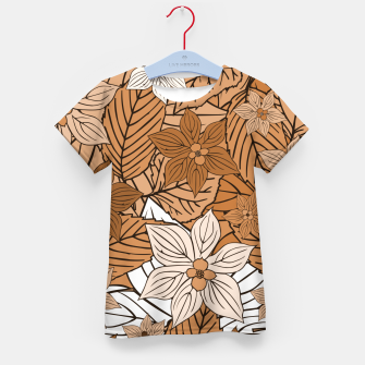Miniature de image de Autumn mood with flowers and leaves in brown and beige romantic illustration and a little bit nostalgia Kid's t-shirt, Live Heroes
