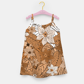 Miniature de image de Autumn mood with flowers and leaves in brown and beige romantic illustration and a little bit nostalgia Girl's dress, Live Heroes