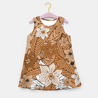 Miniature de image de Autumn mood with flowers and leaves in brown and beige romantic illustration and a little bit nostalgia Girl's summer dress, Live Heroes