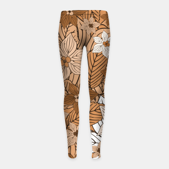 Miniature de image de Autumn mood with flowers and leaves in brown and beige romantic illustration and a little bit nostalgia Girl's leggings, Live Heroes