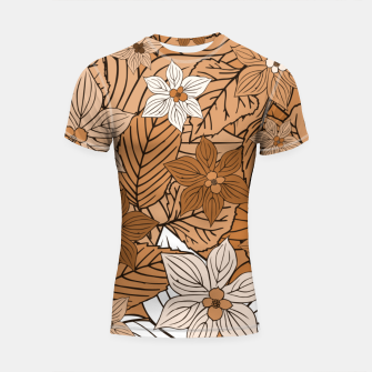 Miniature de image de Autumn mood with flowers and leaves in brown and beige romantic illustration and a little bit nostalgia Shortsleeve rashguard, Live Heroes