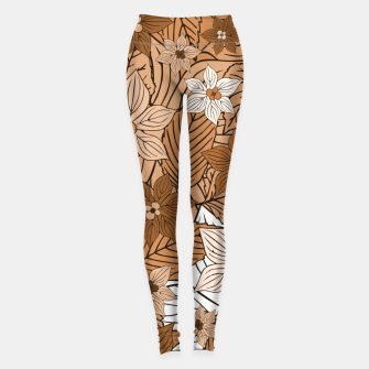 Miniature de image de Autumn mood with flowers and leaves in brown and beige romantic illustration and a little bit nostalgia Leggings, Live Heroes