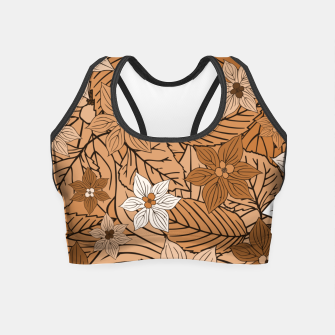 Miniature de image de Autumn mood with flowers and leaves in brown and beige romantic illustration and a little bit nostalgia Crop Top, Live Heroes