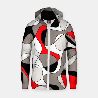 Thumbnail image of Abstract pattern - red, gray, black and white. Zip up hoodie, Live Heroes