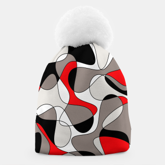 Thumbnail image of Abstract pattern - red, gray, black and white. Beanie, Live Heroes