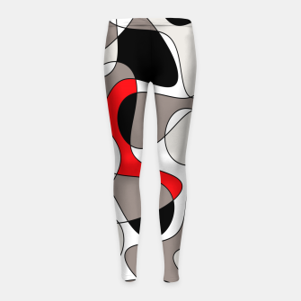 Thumbnail image of Abstract pattern - red, gray, black and white. Girl's leggings, Live Heroes