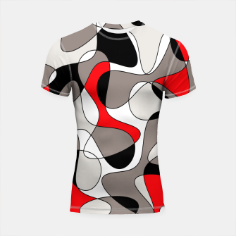 Thumbnail image of Abstract pattern - red, gray, black and white. Shortsleeve rashguard, Live Heroes