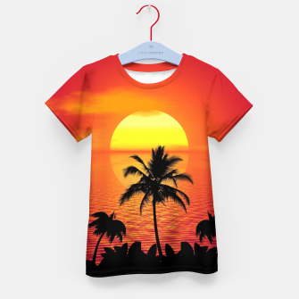 Imagen en miniatura de Tropical Sea Sunset Palm Beach Camiseta para niños, Live Heroes