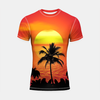 Imagen en miniatura de Tropical Sea Sunset Palm Beach Shortsleeve rashguard, Live Heroes