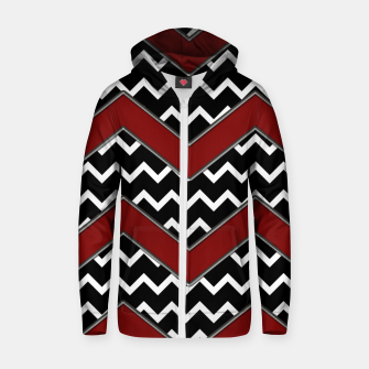 Thumbnail image of Black White Red Chevrons Zip up hoodie, Live Heroes