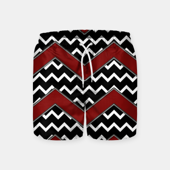 Thumbnail image of Black White Red Chevrons Swim Shorts, Live Heroes