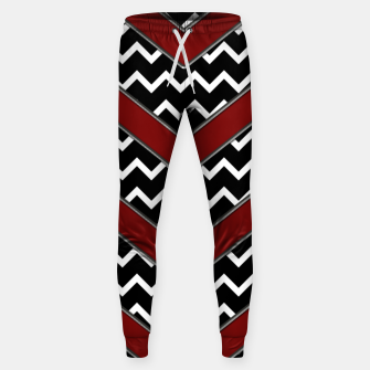 Thumbnail image of Black White Red Chevrons Sweatpants, Live Heroes