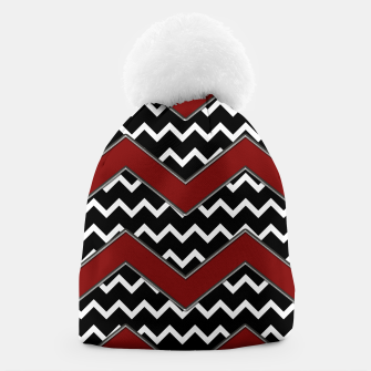 Thumbnail image of Black White Red Chevrons Beanie, Live Heroes