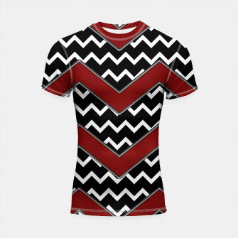 Thumbnail image of Black White Red Chevrons Shortsleeve rashguard, Live Heroes