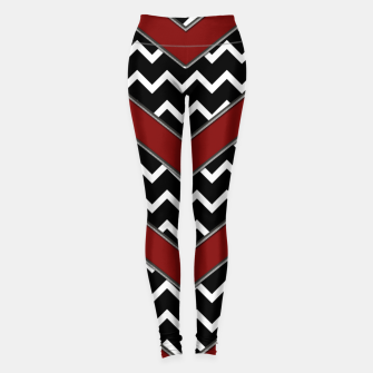 Thumbnail image of Black White Red Chevrons Leggings, Live Heroes