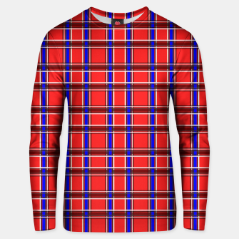 Thumbnail image of Red blue plaid tartan check checkered scottish Unisex sweater, Live Heroes