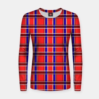 Thumbnail image of Red blue plaid tartan check checkered scottish Women sweater, Live Heroes