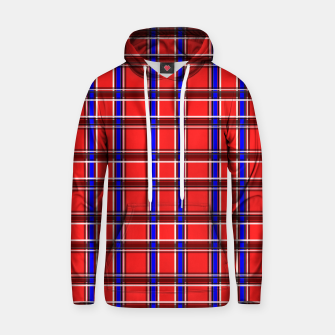 Thumbnail image of Red blue plaid tartan check checkered scottish Hoodie, Live Heroes