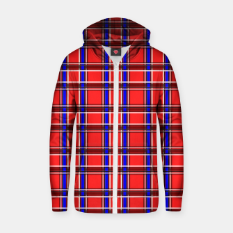Thumbnail image of Red blue plaid tartan check checkered scottish Zip up hoodie, Live Heroes