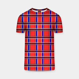 Thumbnail image of Red blue plaid tartan check checkered scottish T-shirt, Live Heroes