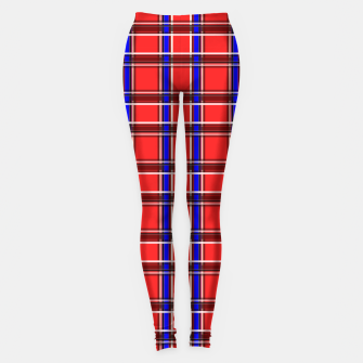 Thumbnail image of Red blue plaid tartan check checkered scottish Leggings, Live Heroes
