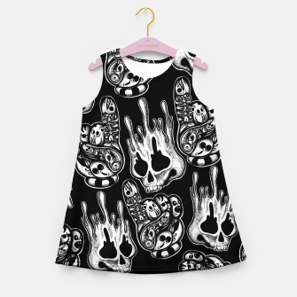 Miniatur One Skull Melting Girl's summer dress, Live Heroes