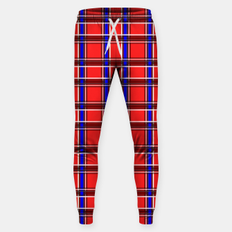 Thumbnail image of Red blue plaid tartan check checkered scottish Sweatpants, Live Heroes